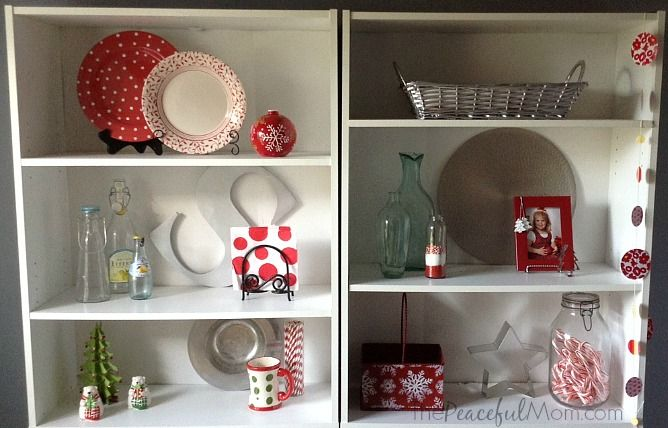 Frugal and Simple Christmas Decor - Kitchen Shelves - from ThePeacefulMom.com