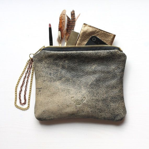 Repurposed leather pouch