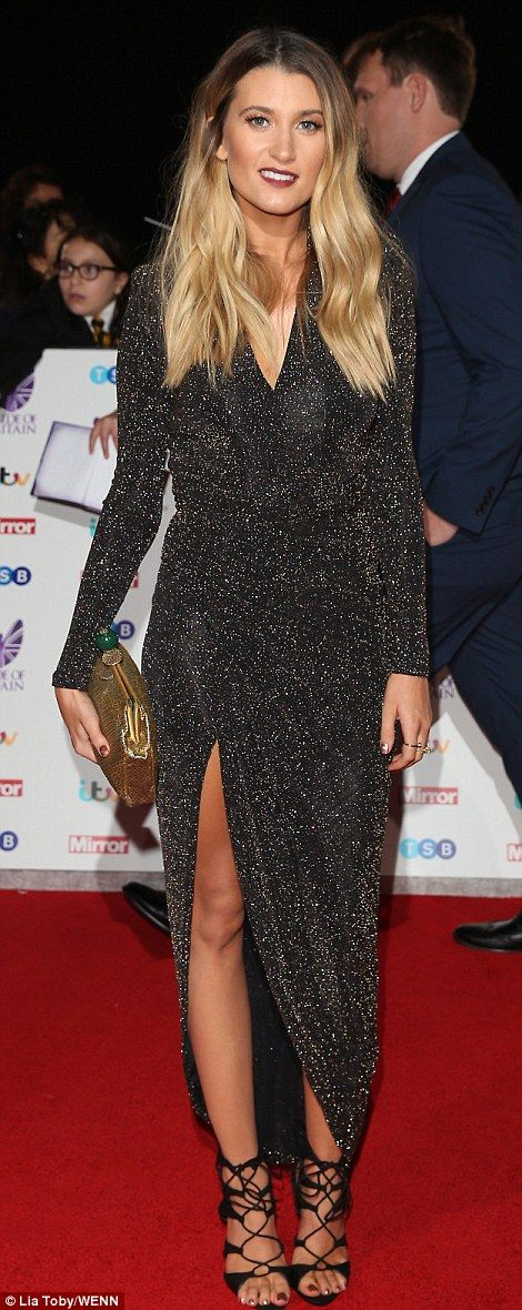 Stylish: Brooke Vincent (L) and Charley Webb (R) showed off their yotuhful styles in high-shine gowns - with Brooke's a navy satine and Charley's a sparkling black wrap dress