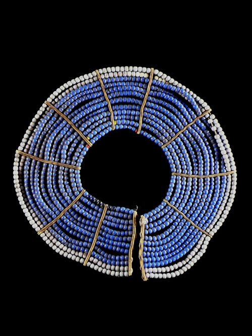 Africa | Beaded necklace worn by the Pokot people of Kenya | Glass beads, natural fiber | ca. 1970s.