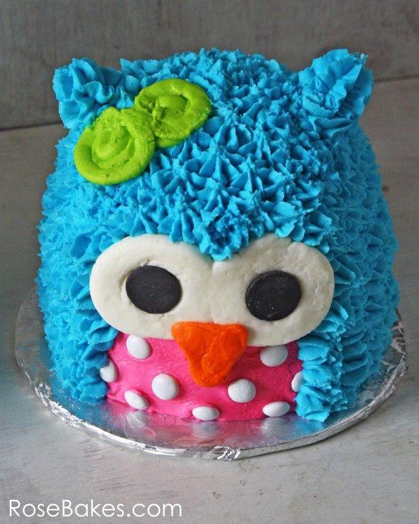 Rose Bakes | Bright Polka Dots Owl Cake and Owl Smash Cake | http://rosebakes.com