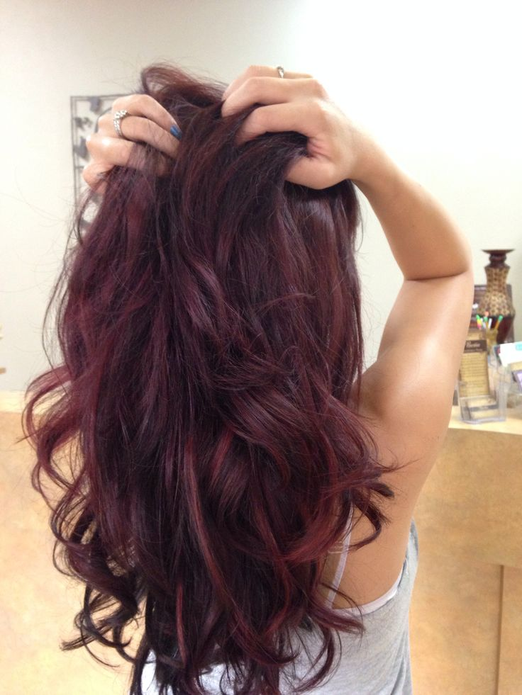 Red violet hair color with red highlights on myself