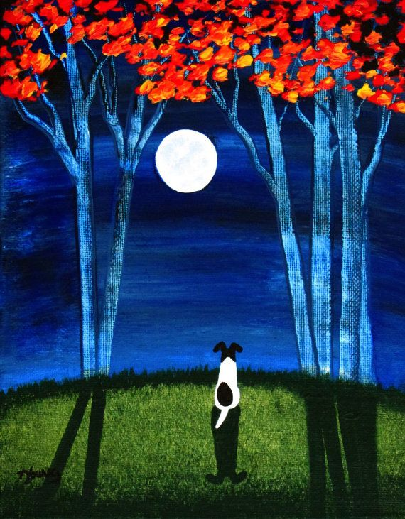 Smooth Fox Terrier Dog Folk art painting by Todd by ToddYoungArt, $99.00
