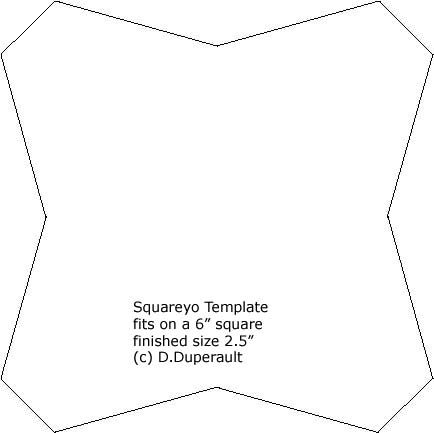 Square yoyo quilt template