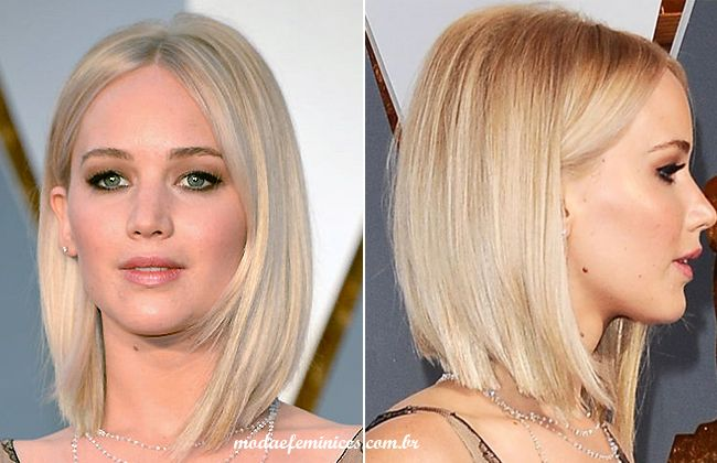 Cabelos long Bob – Jennifer Lawrence inspira o look | Cheveux lisse long bob Hair http://modaefeminices.com.br/2016/12/18/cabelos-long-bob-jennifer-lawrence-inspira-o-look/