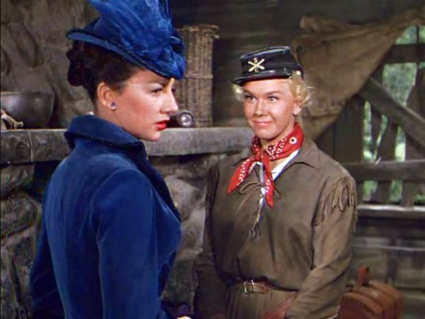 Calamity Jane (Doris Day) in Calamity Jane (with the estimable Allyn Ann McLerie).
