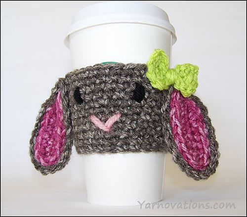 Make this cute bunny cup cozy by Yarnovations just in time for Easter! Get the free crochet pattern and make it now with Lion Brand Vanna's Choice and a size H (5mm) crochet hook!