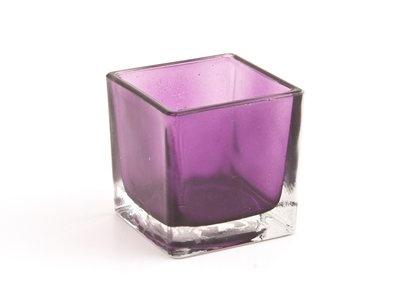 Square votive holder - purple