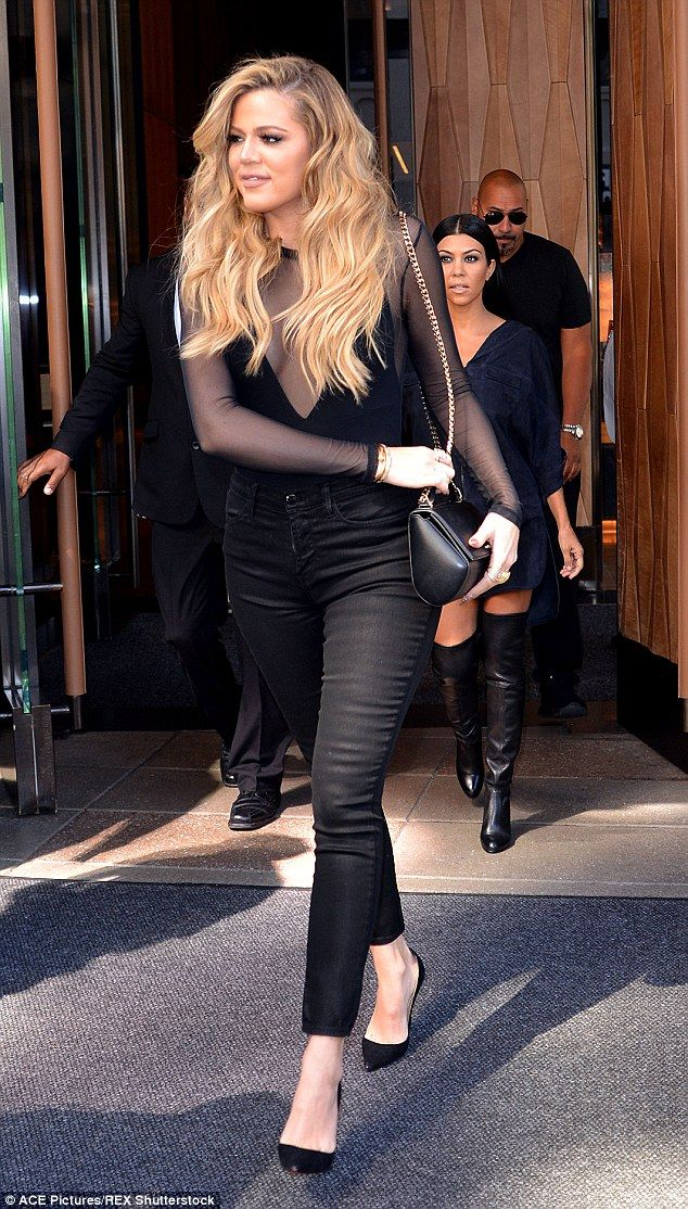 Before: Khloe Kardashian wore her long hair down while out in New York on September 16