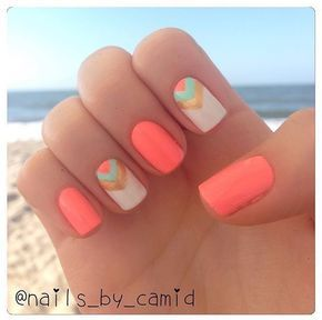 Cute summer nails with gold and teal accents!
