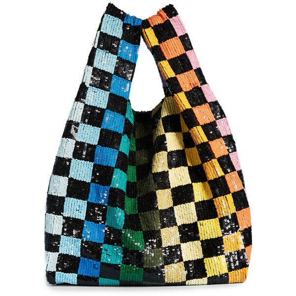 ASHISH Sequin Grocery Bag ($645) ❤ liked on Polyvore featuring bags, handbags, tote bags, rainbow checkerboard, lined tote bag, colorful tote bags, tote bag purse, handbags totes and multi color purse