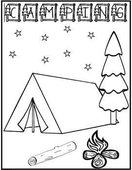 Camping Coloring Page FREEBIE