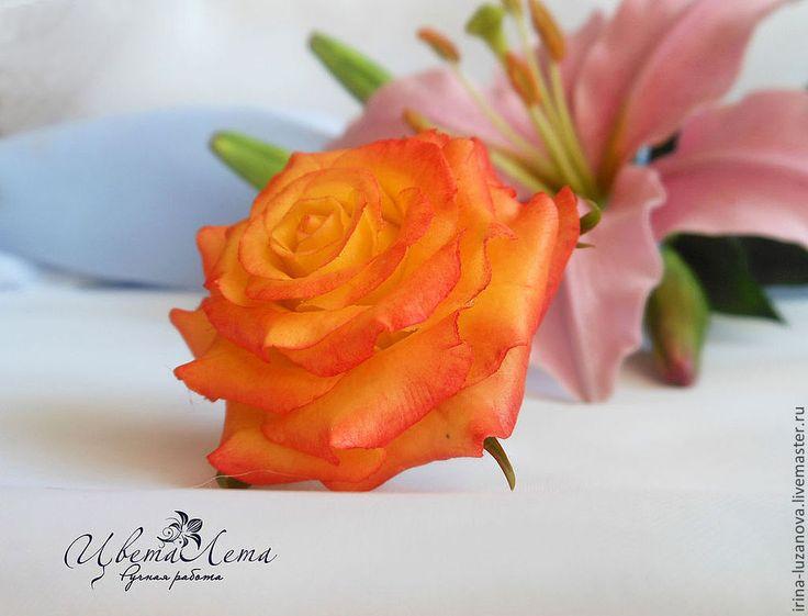 """Купить Кольцо с розой из полимерной глины """"Перо жар-птицы"""" (холодный фарфор) - кольцо"""