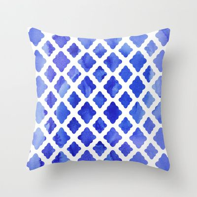Watercolor Diamonds in Cobalt Blue Throw Pillow by Micklyn - $20.00
