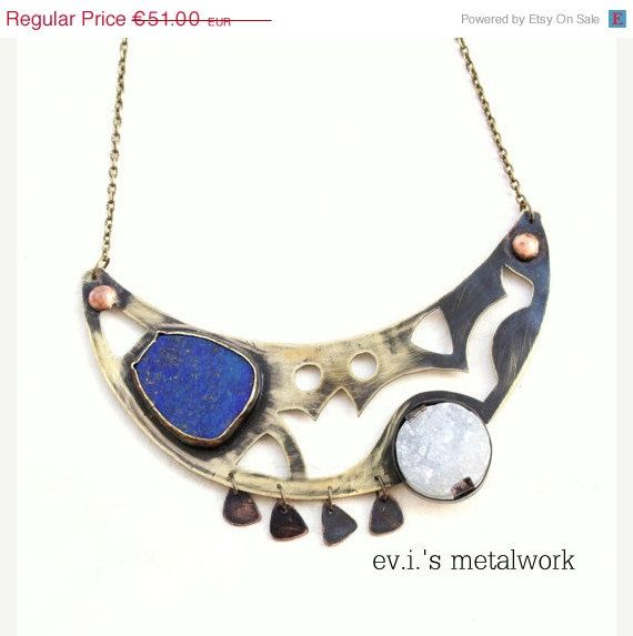 ON SALE Blue Lapis Chrysocolla White Druzy Choker by evismetalwork