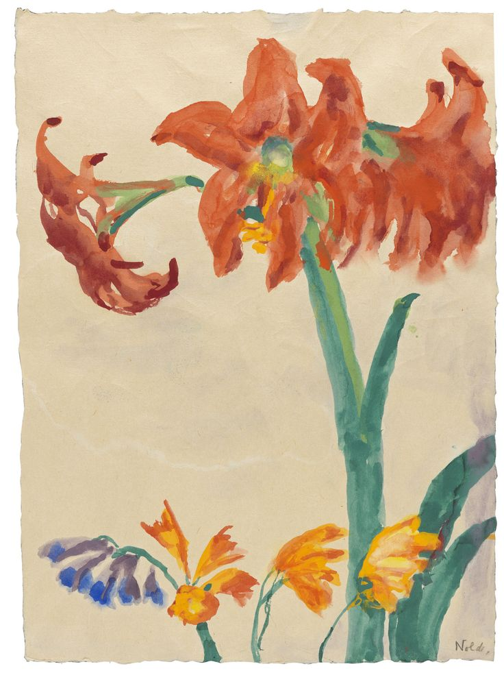Emil Nolde Amaryllis (after 1950)watercolor on Japan paper 47 x 34,5 cm