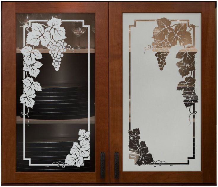 Vineyard Grapes Cabinet Glass Sans Soucie Shown Here In Both Positive And Negative Sandblast