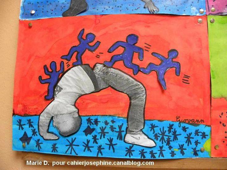 Arts visuels: travailler sur le mouvement. Etudier Keith Haring. Lier à un travail en danse ou acrosport en EPS où les enfants seront pris en photo en mouvement. Cette photo devra ensuite être intégrée à l' oeuvre à la manière de ...