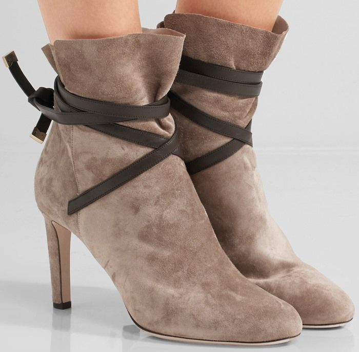 Jimmy Choo 'Dalal' Leather-Trimmed Suede Ankle Boots