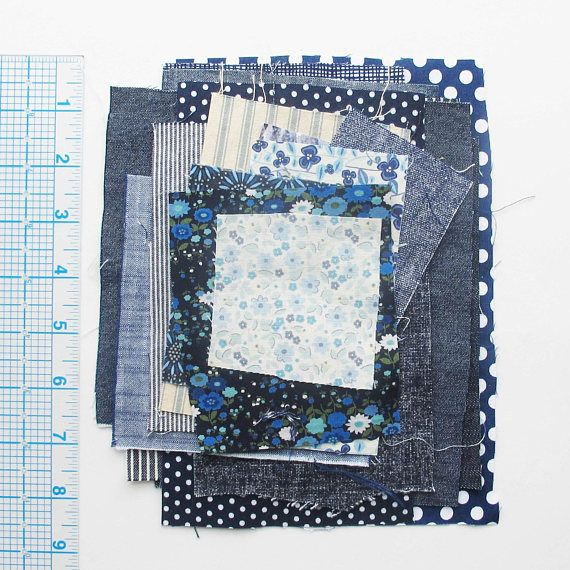 Blue Fabric Pieces Bag 3  Scrap bag with a variety of blue