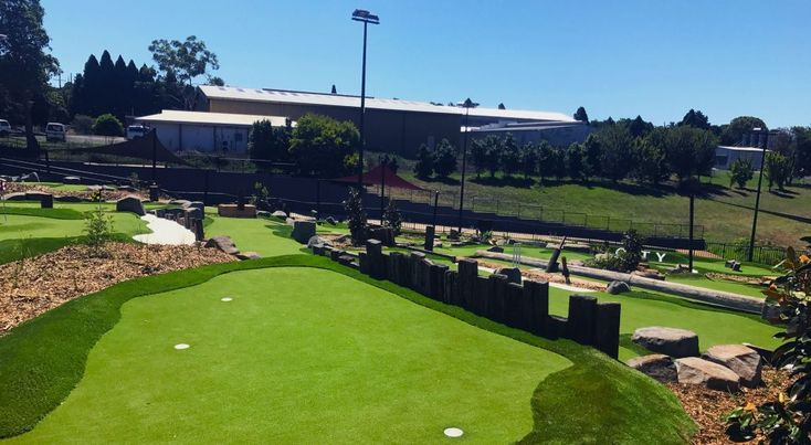 In our miniature golf course designs we use natural materials to build landscape features