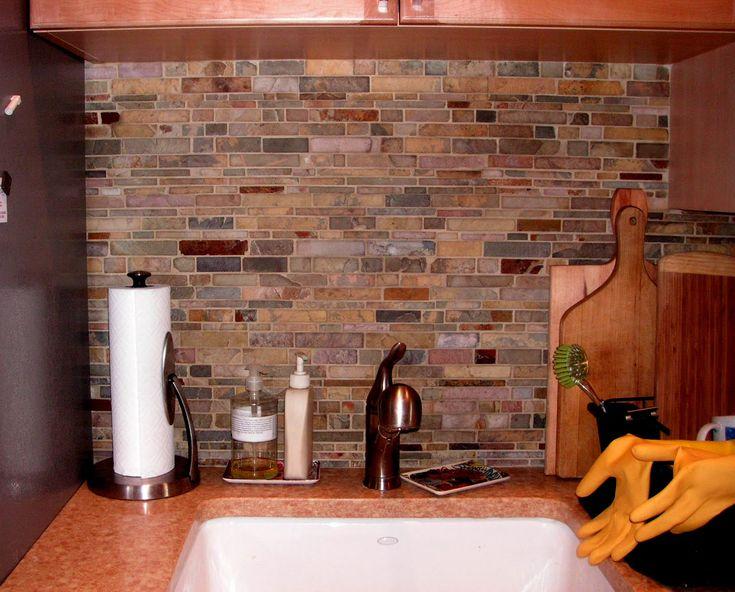 Enchanting Backsplash For Kitchen Color Forte Colorful Slate Tile Ideas Unique