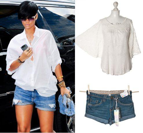 Szorty a'la RiRi?     Szorty z mankietami, Demin Co (butik #Wzorcownia), Biała bluzka #Next (butik Wzorcownia)