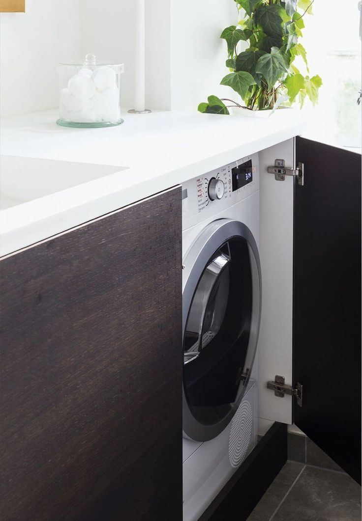 Modern Laundry Room With Hidden Washing Machine Tiny