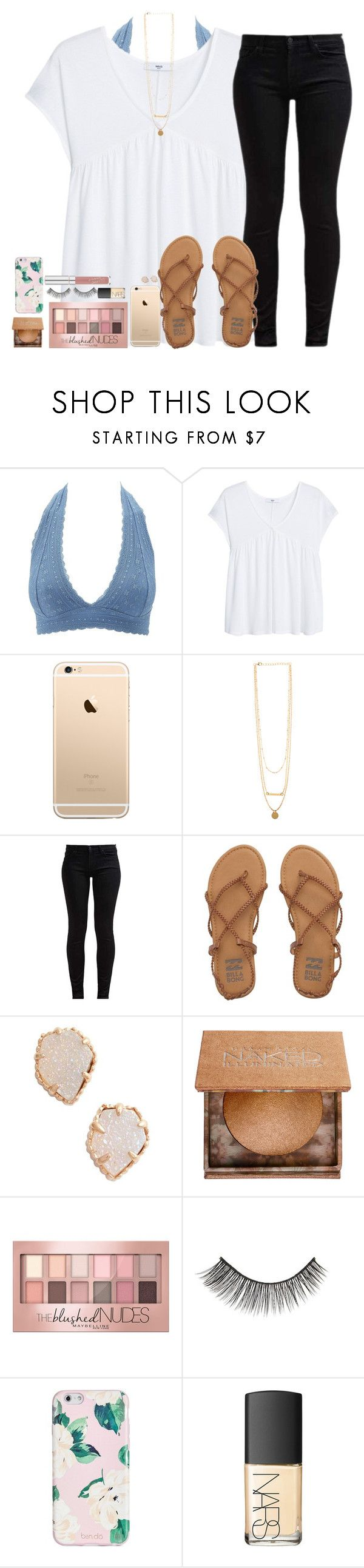 """""""I have died everyday waiting for you ⭐️"""" by southernstruttin ❤ liked on Polyvore featuring Charlotte Russe, MANGO, 7 For All Mankind, Billabong, Kendra Scott, Urban Decay, Maybelline, Forever 21, ban.do and NARS Cosmetics"""