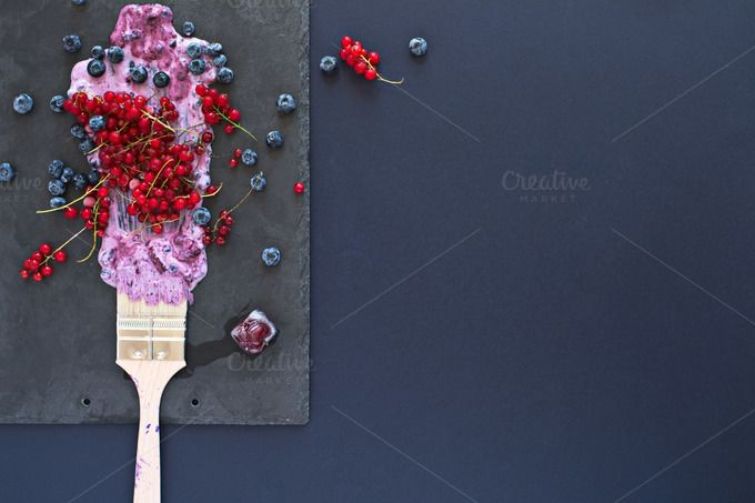 Fruit painting. Copy space, top view by kawizen  on @creativemarket  #berries #yogurt #violet #purple #painting #foodart #brush #tray #slatetray #servingtray #currants #blackberries #currant #redcurrant #topview #summer #season#seasonal #fruits #flavor #red #explosion#art #artistic #kitchentray #icecube#frozencherry #frozen #icy #frosty #copyspace
