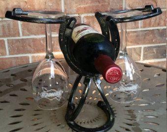 Horseshoe Wine rack holds 7 bottles and four by Turpinshorseshoes