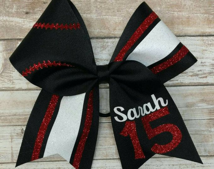 Custom Softball Hairbow, Softball Bow, YOU PICK COLORS, team softball bows, custom cheer bow, sports hairbow, big softball bow
