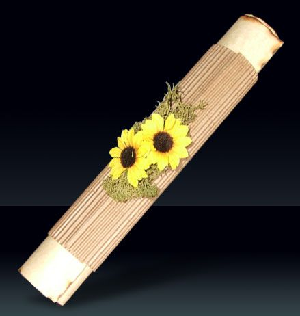 Roll Up Invitation With Little Sunflowers Edges Are Burned Not Cutted