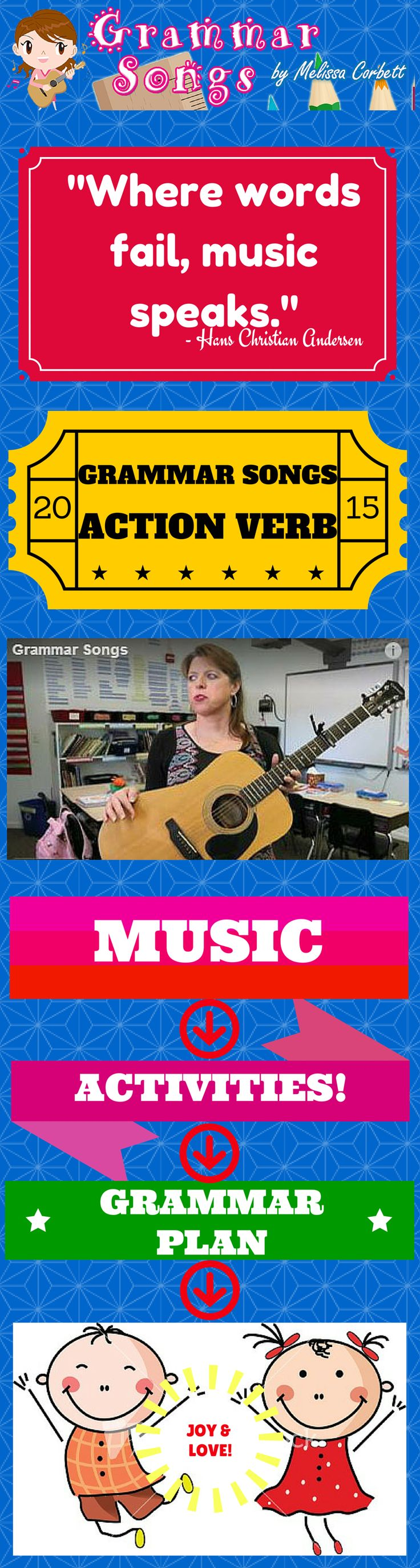 (Free Grammar Videos and Activities) Verb Song New by Melissa... This song not only illustrates clearly the concept of the action verb, but it demonstrates in an effective way why verbs are necessary when writing. Although the concept of an action verb is a simple concept, this song takes verbs further than the level of identification as a part of speech. The addition of the importance of the action verb (and quality of action verb used) is relevant to all elementary grade levels.