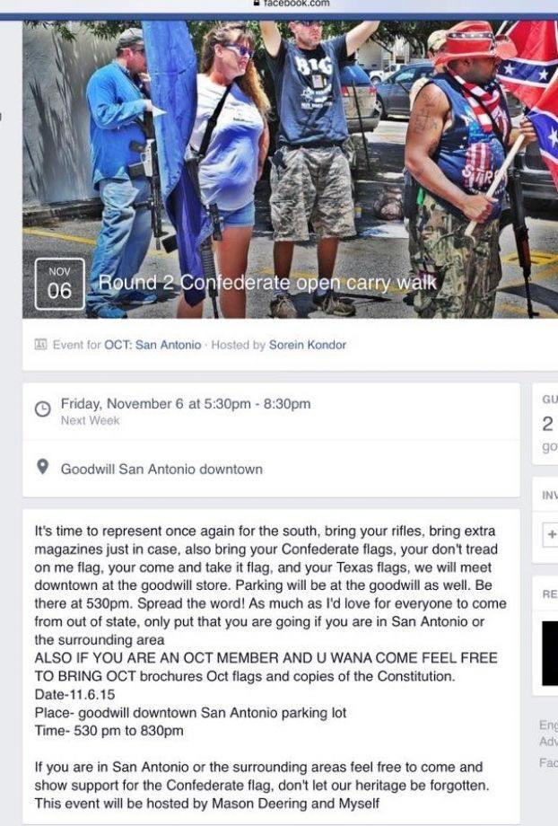 The Facebook event page, which was posted in a closed OCT San Antonio group, lists the time from 5:30 – 8:30 p.m.