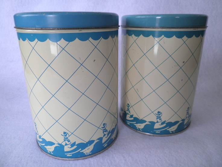 Pair Of Vintage Blue And Cream Tin Kitchen By MooncrestVintage