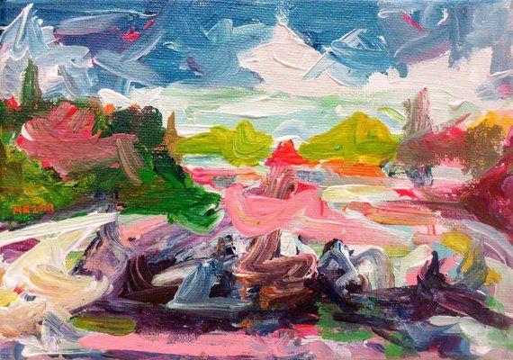 Original Acrylic Painting Summer Color Study 5x7 Colorful Abstract Landscape Painting Canadian Painting Idee
