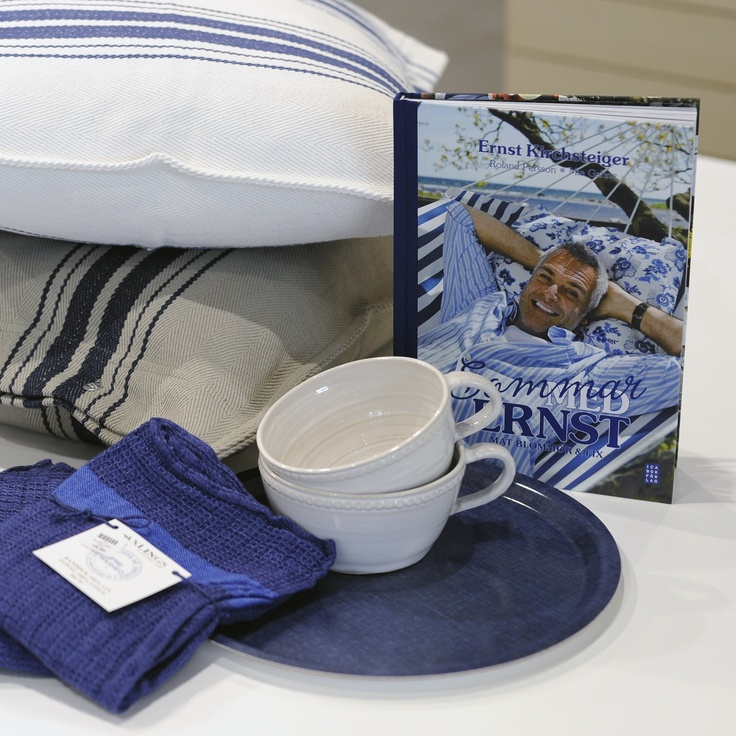 Hues of blue by Artwood pillows and Ernst towels.