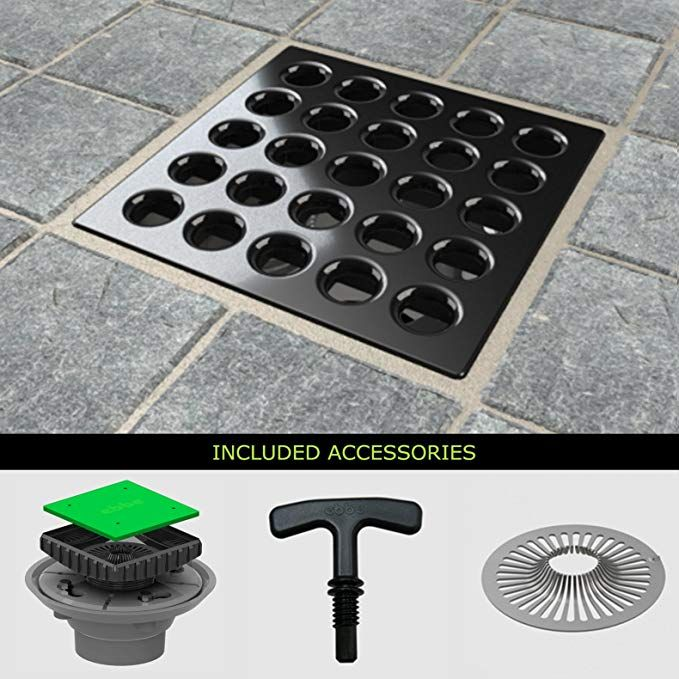 Ebbe E4403 Square Drain Grate E4024 Pvc Clamp Collar W Drain Riser Hair Trap T Puller Review Hair Trap Square Plates Shower Drain