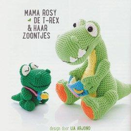 Gehaakte t rex mama met haar zoontjes.