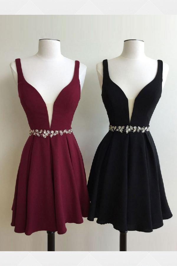 ee7f09af2a Sale Substantial Homecoming Dresses Black Cute A-line Short Burgundy Black  Homecoming Dress Burgundy Homecoming Dress