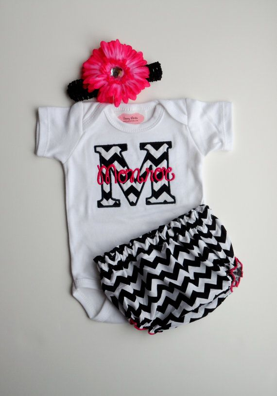 Chevron Personalized Baby Girl Clothes Newborn Gril Take Home Outfit One-Piece Diaper Cover Headband Gift Set  Monogrammed Baby Girl Outfit on Etsy, $36.90