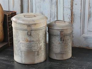 Box med låg sæt af 2 stk antik zink