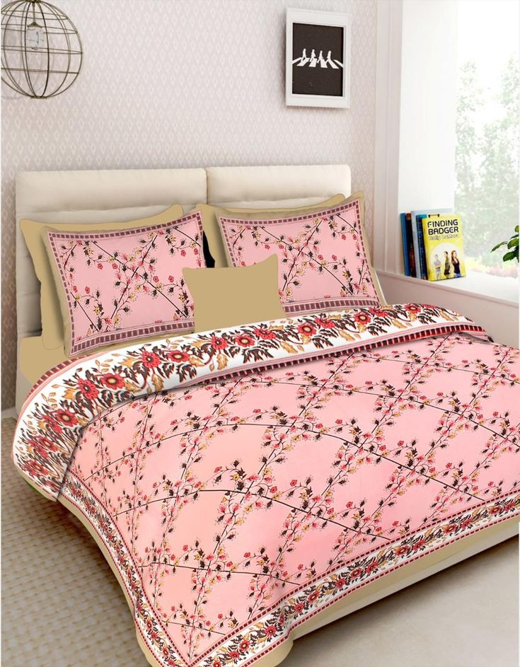 Buy King Size Floral Printed Fine Cotton Double Bedsheet