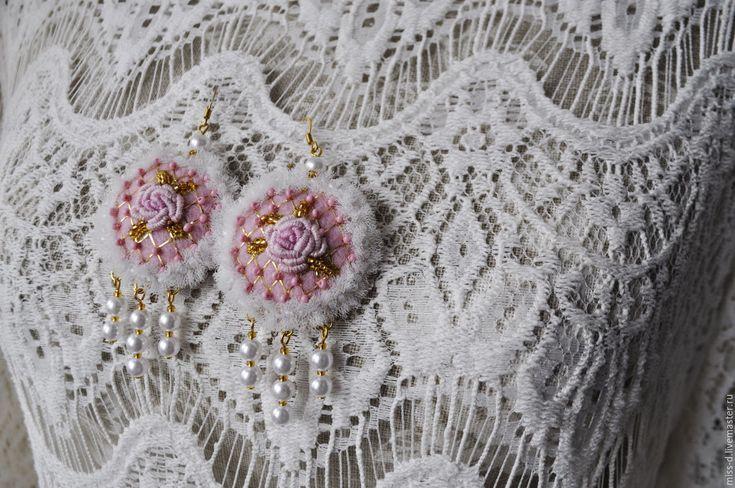 """Купить Серьги """"Розовые розы РОКОКО"""" - розовый, серьги, текстильные украшения, 1300"""
