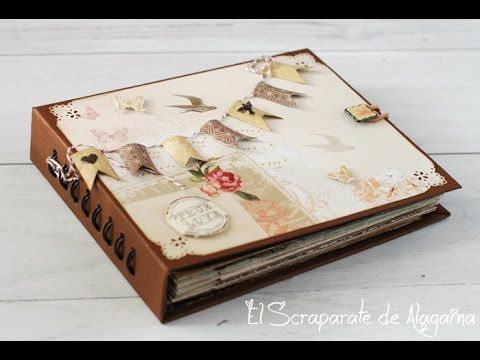 1ª parte del tutorial de un mini álbum, encuadernación con la bind-it-all, pero con las anillas semi escondidas. El tutorial con la decoración en https://you...