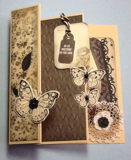 Three-fold card using Art of life papers and Hero Arts antique flowers and butterflies stamp and die set