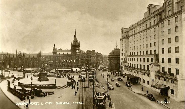 Vintage Old Photos   Yorkshire, Leeds c.1950 - with vintage trams and motor cars - image ...
