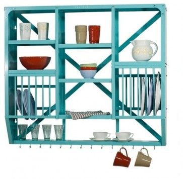 I love the look of this wall mounted dish rack. What a great way to turn your dinnerware into a bit of art.