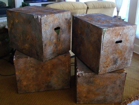"Finally checked out Terra's Tutorial for these Faux Metal Haunt Boxes.""Here's a SPACE FILLERfor LARGE VOIDS or openings in your HAUNT. Plus they look cool too... These were large cardboard boxes given a makeover using paint and monster mud."